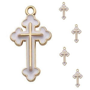 White Gold Cross Jewelry Bracelet Necklace Charms