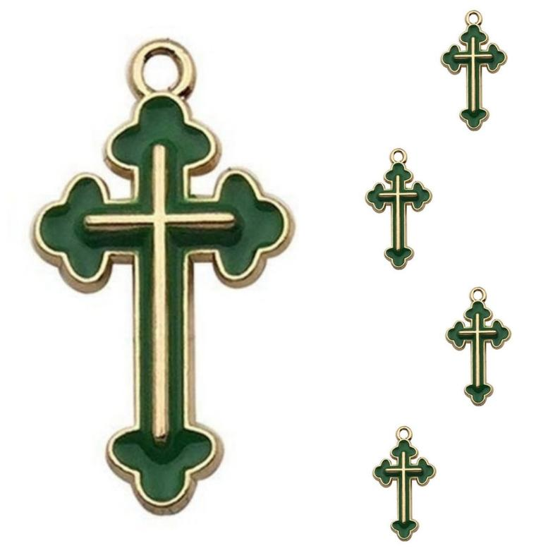 Green Gold Cross Jewelry Bracelet Necklace Charms