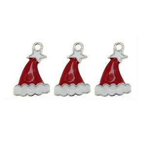 Santas Red Hat with White Star Jewelry Bracelet Necklace Charms