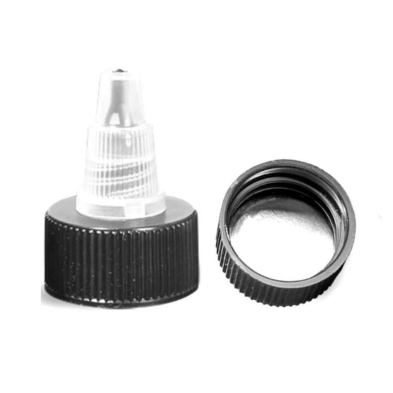 Black Natural with Silver Liner Twist Top Dispensing Caps - Bottle Cap Size: 20-410 - Set of 25
