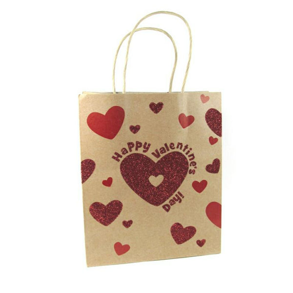 Valentines Day Red Glitter Heart Kraft Handle Paper Party Favor Wedding Gift Bags - Set of 15