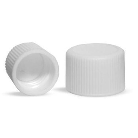 White Ribbed Standard Screw-On Caps - Bottle Cap Size: 20-410