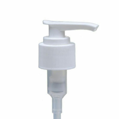 White Ribbed Lotion Pump - Bottle Cap Size: 24-410 - Set of 25