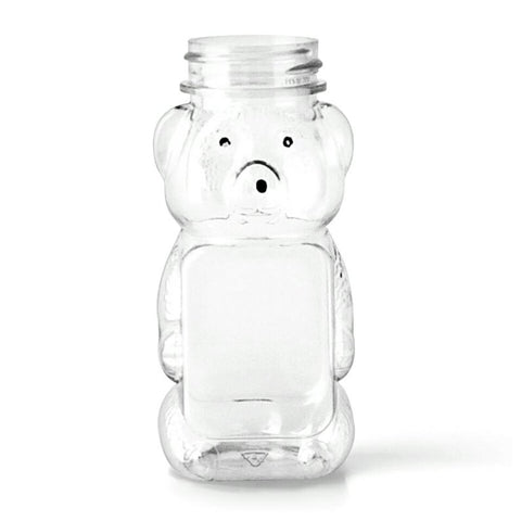 8oz Clear PET Plastic Honey Bear Bottles - Set of 25