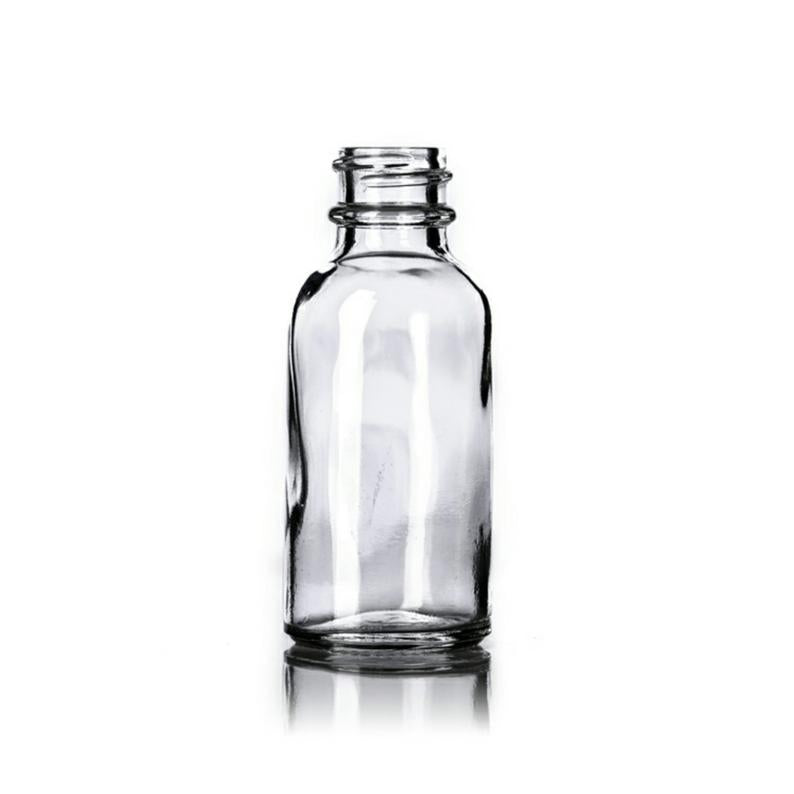 1oz Clear Glass Boston Round Bottle - Set of 25