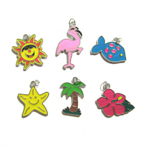 Florida Summer Pink Flamingo Palm Tree Sun Hibiscus Flower Charms