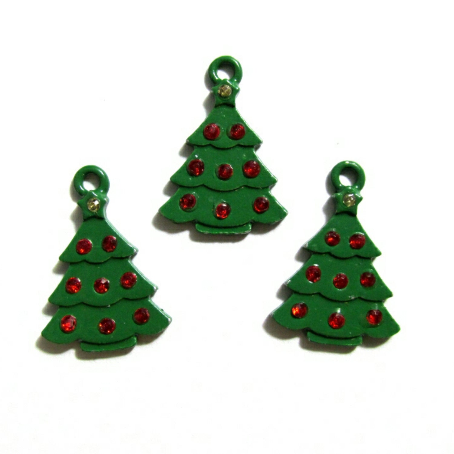 Green Christmas Tree Red Rhinestones Charms