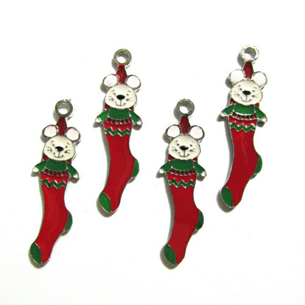 Christmas Mouse and Stocking Charms