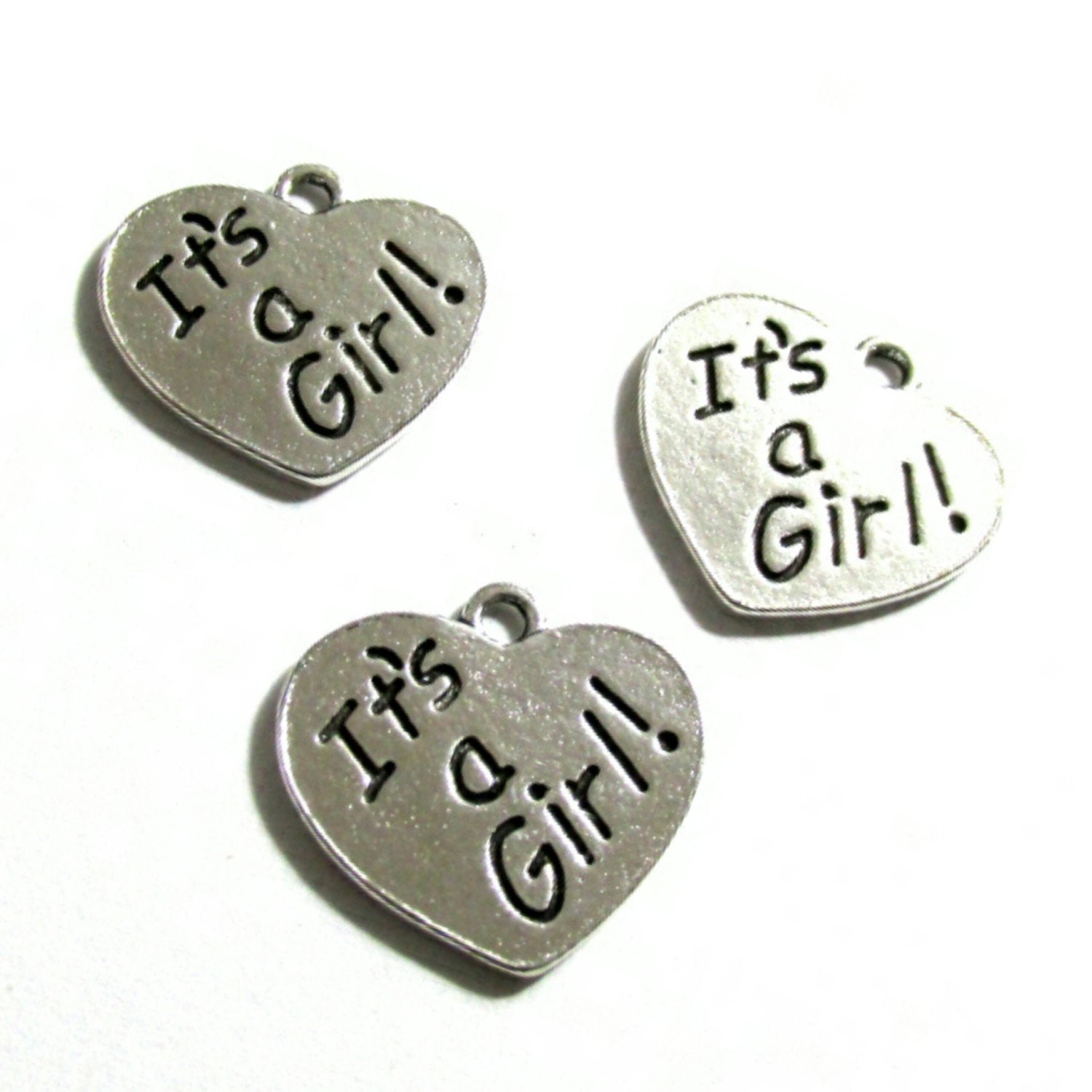 Its a Girl Silver Tone Charms