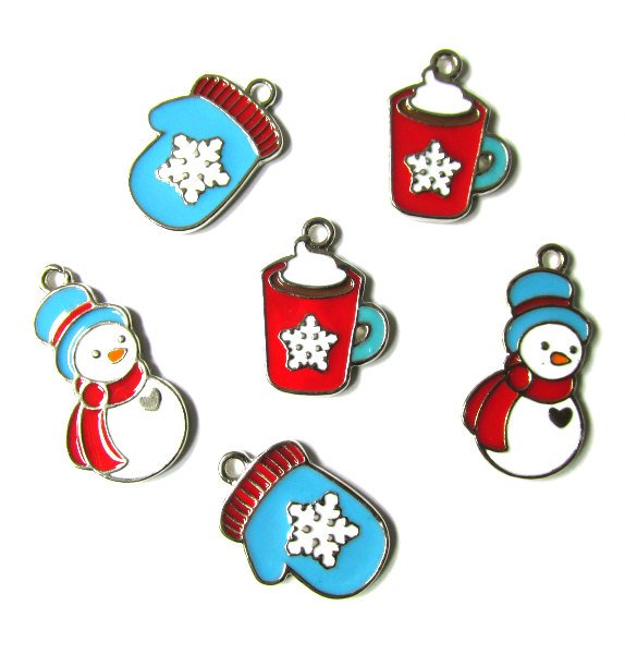 Snowman with Red Scraf Mittens and Hot Chocolate Charms