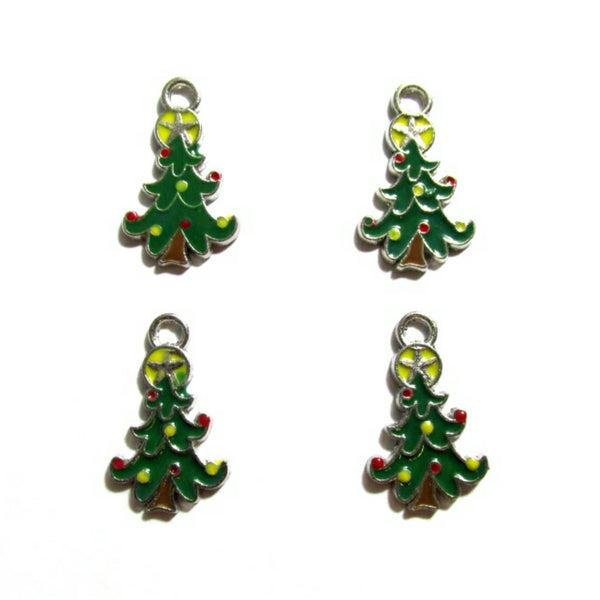 Green Christmas Tree with Yellow Star Charms
