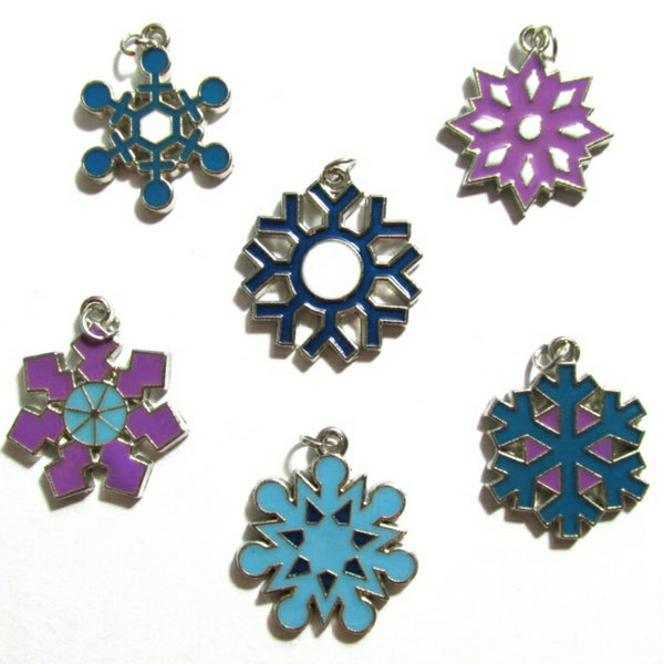 Snowflake Blue Purple Christmas Charms