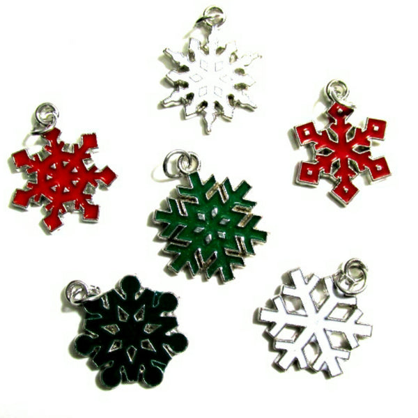 Red Green White Snowflake Silver Tone Charms