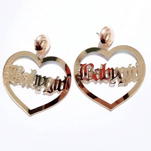 BABY GIRL Calligraphy  Gold Heart Acrylic Dangle Stud Earrings