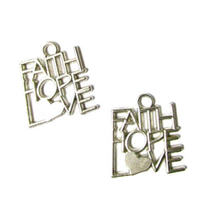 FAITH HOPE LOVE Silvertone Charms