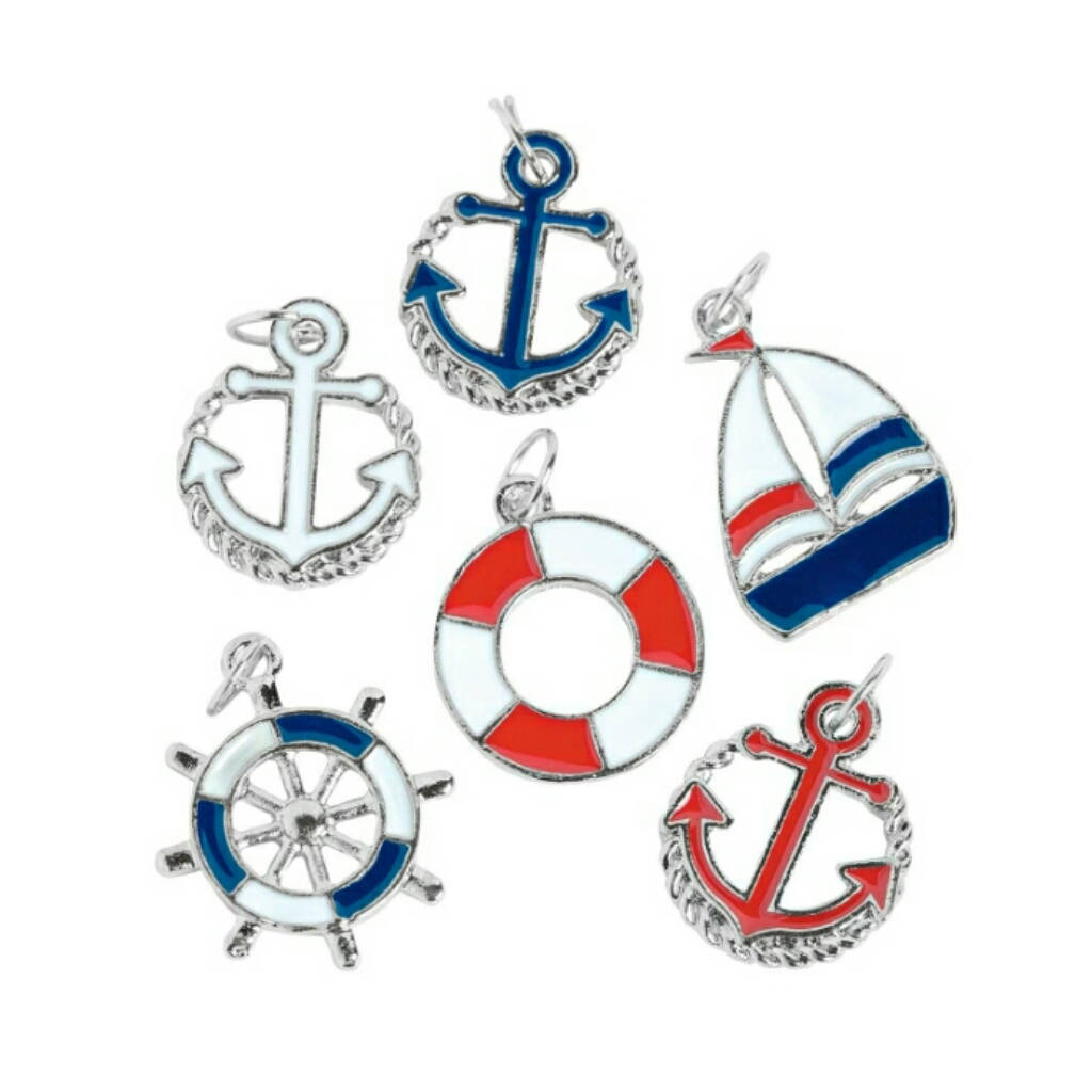 Sailor at Sea Boat Anchor Wheel Charms