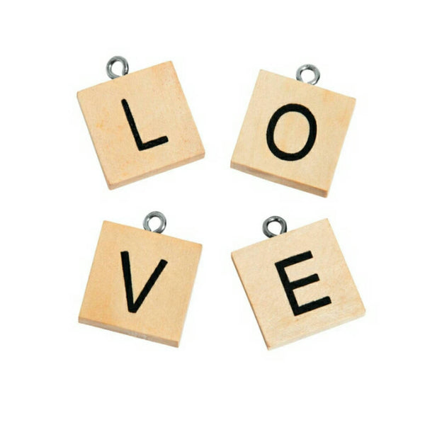 LOVE Expression Wood Charms