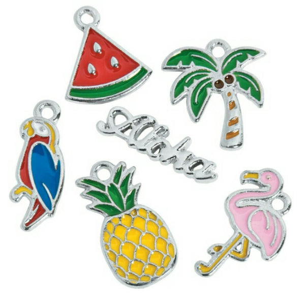 Aloha Hawaii Tropical Pink Flamingo Palm Tree Watermelon Charms