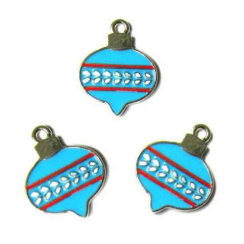 Light Blue Christmas Ornament Bulb Charms