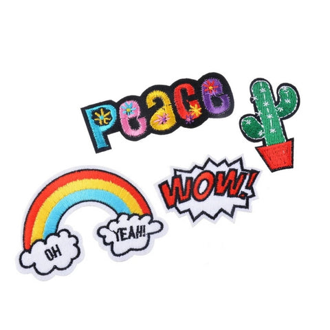 WOW Peace Rainbow Oh Yeah Cactus Iron-On Patches