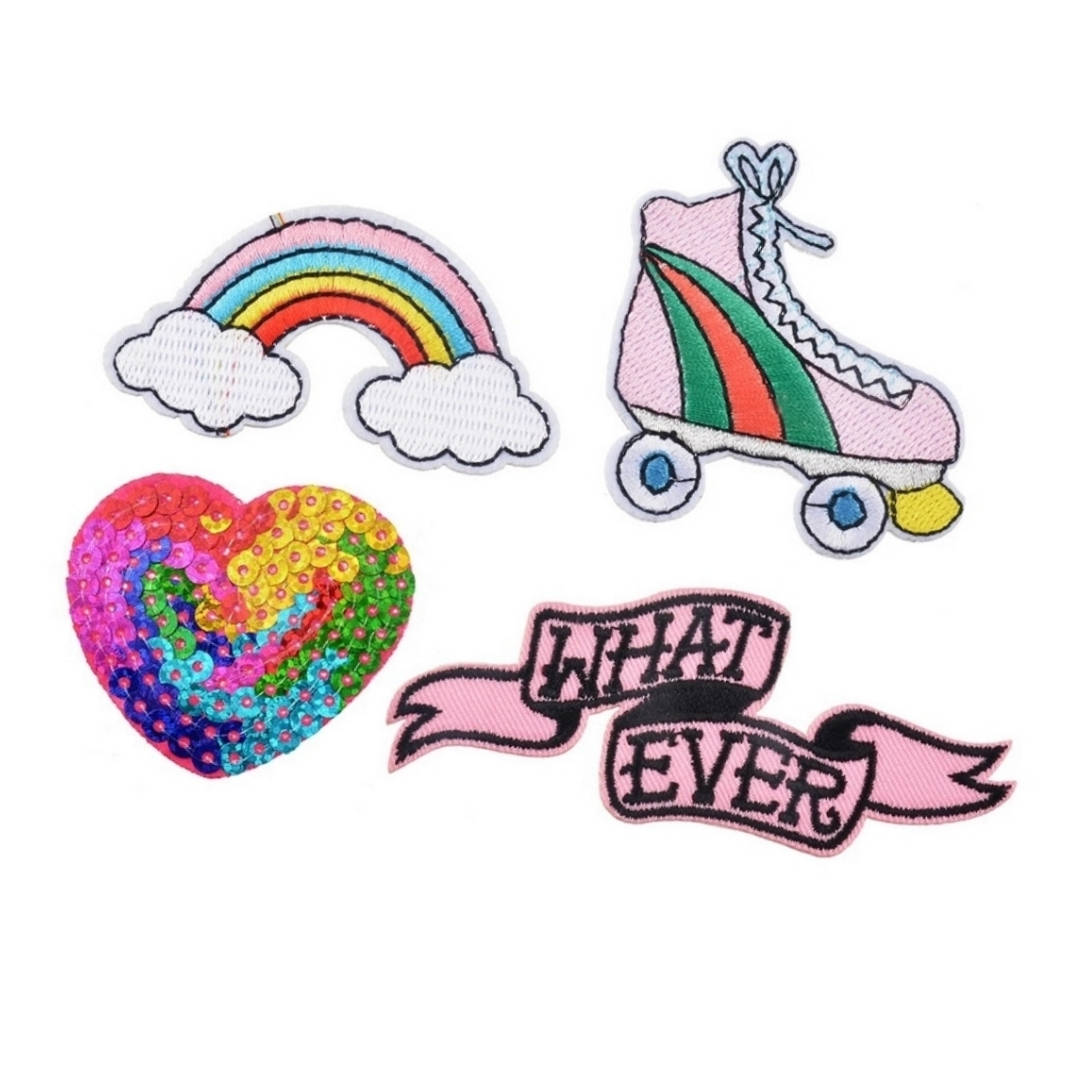 Whatever Roller Skate Rainbow Heart Sequins Iron-On Patches