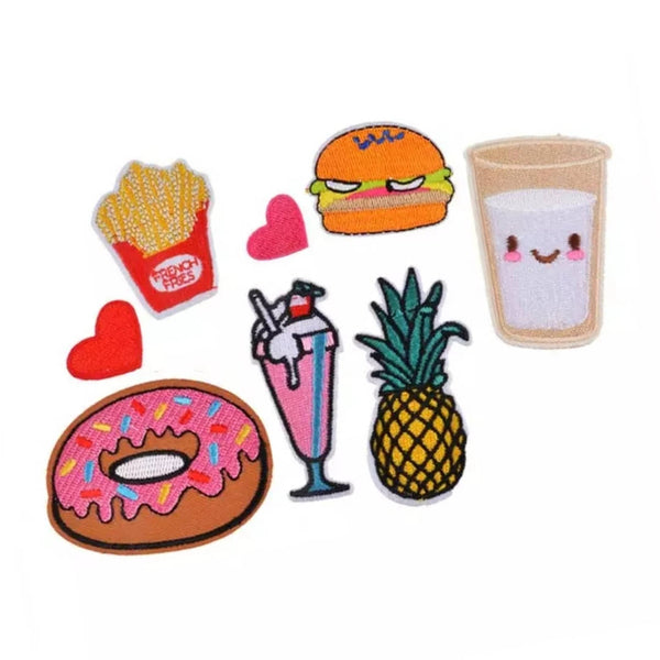 Donut Fries Hamburger Milk Pineapple Ice Cream Sundae Hearts Pineapple Iron-On Patches