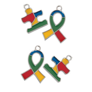 Ribbon and Puzzle Piece Autism Awareness Charms