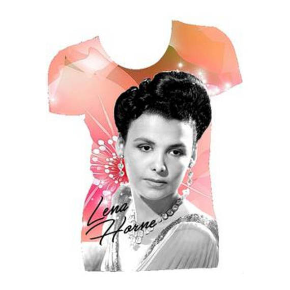 Lena Horne Graphic Print White Fitted Crew Neck Tshirt