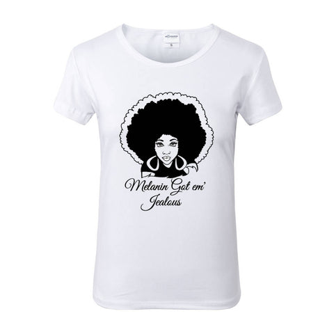 Melanin Got em Jealous White Crew Neck Tshirt