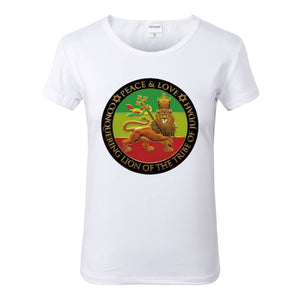 Peace Love Conquering Lion of Judah White Crew Neck Tshirt