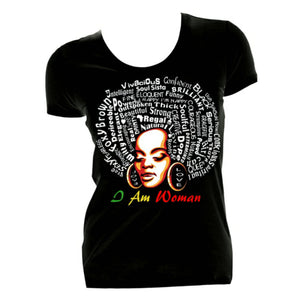 I AM WOMAN Black Fitted Crew Neck Tshirt