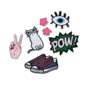 POW Denim Sneakers White Cat Pink Arrows Eye Iron-On Patches