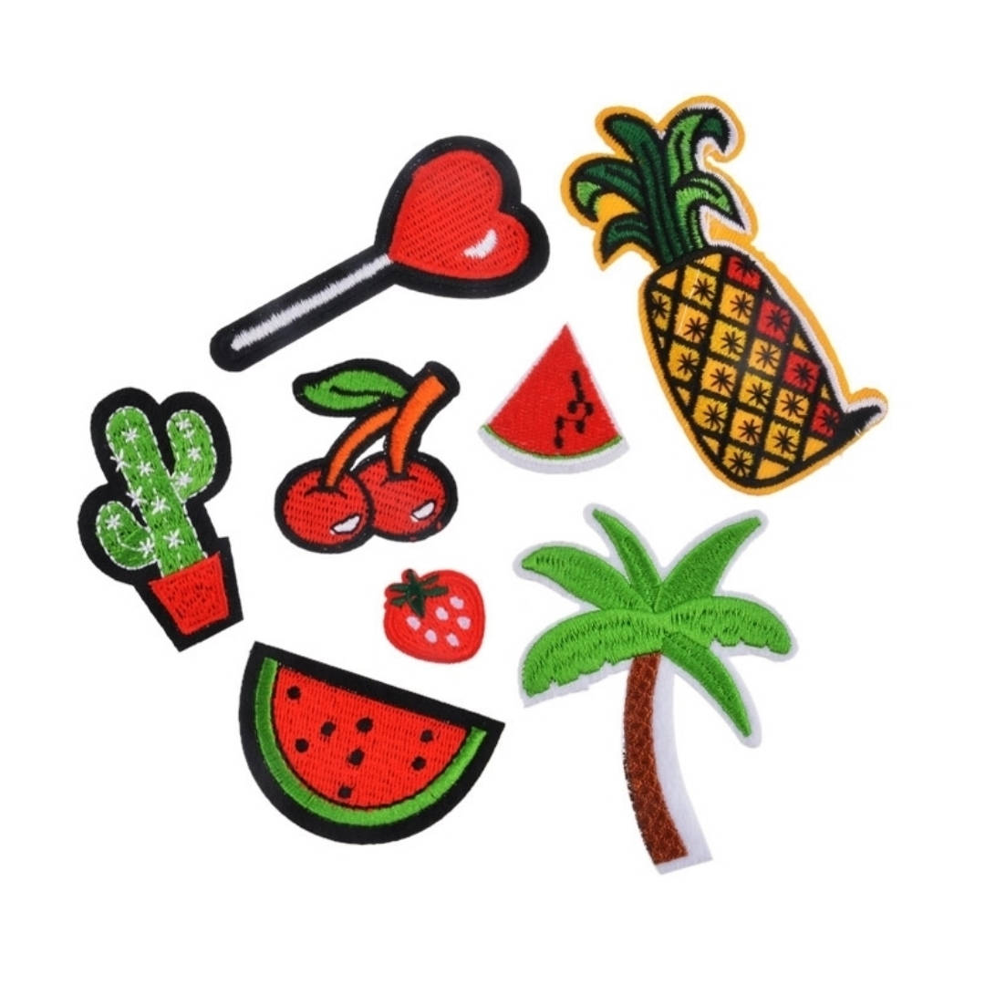 Pineapple Heart Lollipop Cherries Watermelon Palm Tree Cactus Iron-On Patches