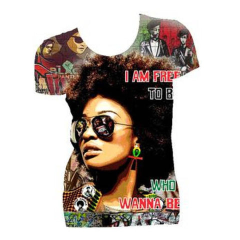Free to Be Who I Wanna Be Natural Hair Fitted Crew Neck Tshirt