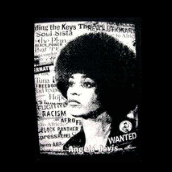 Angela Davis Black Panther Fitted Crew Neck Tshirt