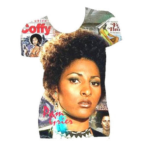 Pam Grier Graphic Print White Fitted Crew Neck Tshirt