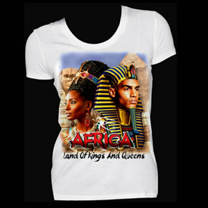 AFRICA Land of Kings and Queens  Fitted White Crew Neck Tshirt