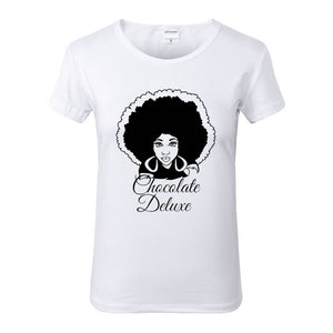 Chocolate Deluxe Afro White Crew Neck Tshirt