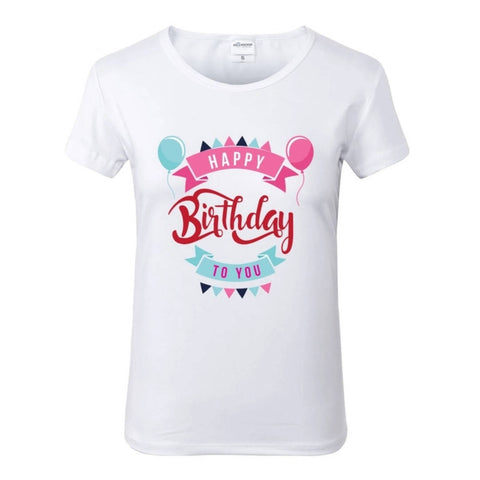 Happy Birthday Celebration White Crew Neck Tshirt