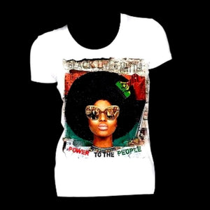 Afro Power To The People Fitted White Crew Neck Tshirt