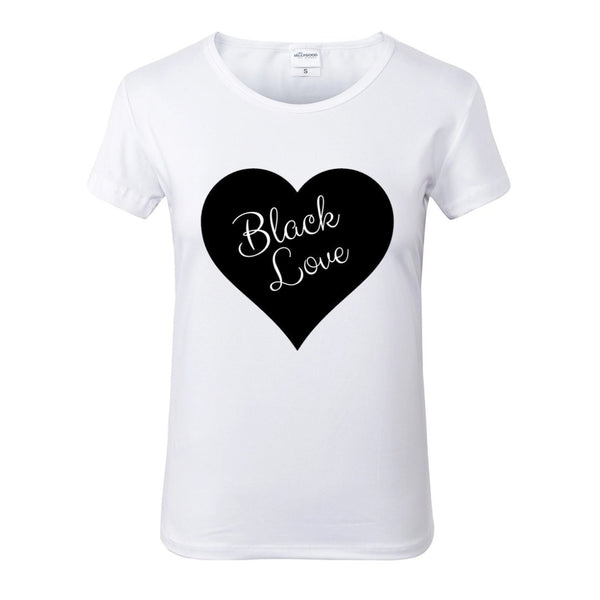 Black Love White Crew Neck Tshirt