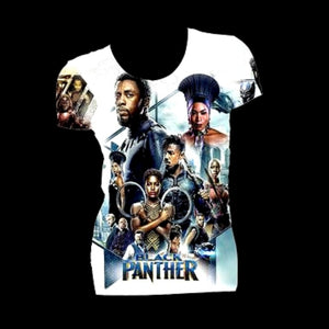 Black Panther Wakanda Forever Graphic Print White Fitted Crew Neck Tshirt