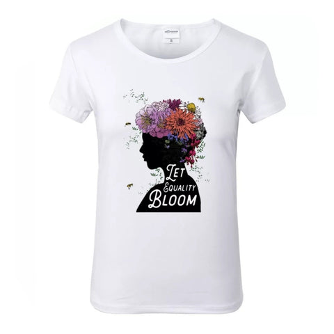 Let Equality Bloom White Crew Neck Tshirt