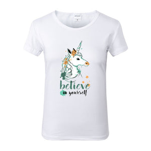 Believe In Yourself Unicorn White Crew Neck Tshirt