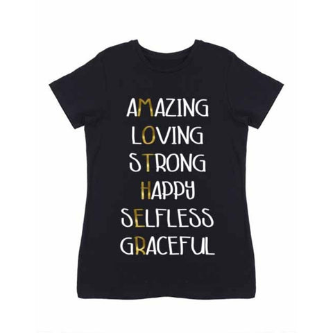 MOTHER Amazing Loving Strong Happy Selfless Graceful Black Fitted Tshirt