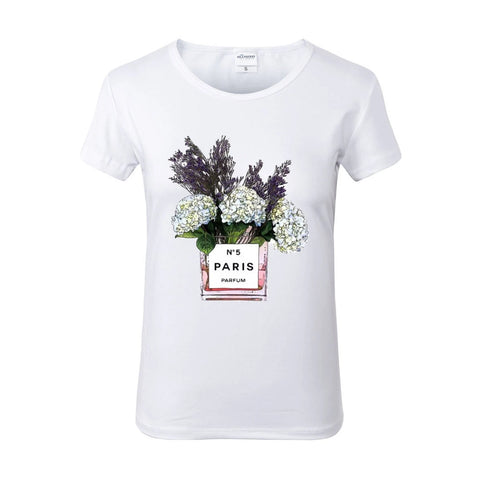 Chic Floral Paris White Crew Neck Tshirt