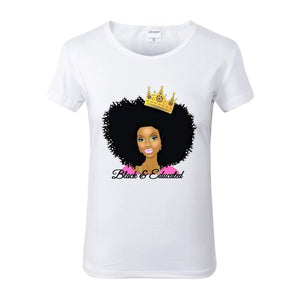 Black and Educated Crowned Afro Queen White Crew Neck Tshirt