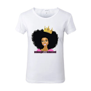 UNBOUGHT and UNBOSSED Crowned Afro Queen White Crew Neck Tshirt