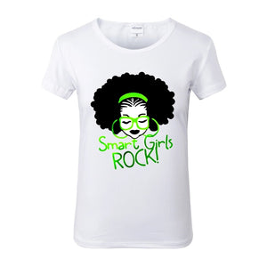 Smart Girls Rock Green White Crew Neck Tshirt