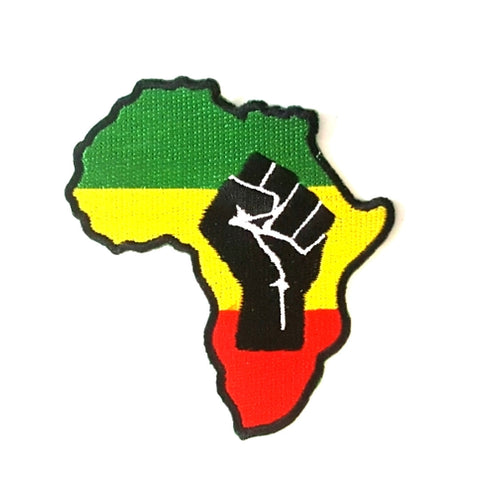 Power Fist Africa Rasta Iron-On Patch